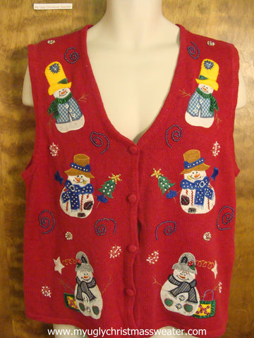 Snowmen Wearing Winter Hats Ugly Christmas Sweater Vest