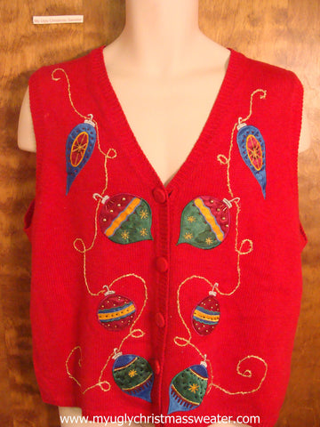 Bling Holiday Ornaments Ugly Christmas Sweater Vest