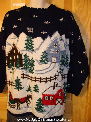 Tacky 80s Classic Ugly Christmas Sweater with Winter Wonderland on Front and Back (f660)