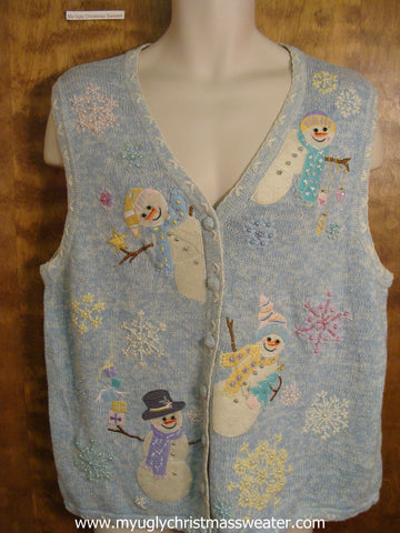 Pastel Snowmen Ugly Christmas Sweater Vest
