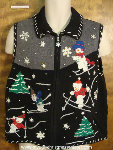 Snowmen Slipping and Sliding Ugly Christmas Sweater Vest