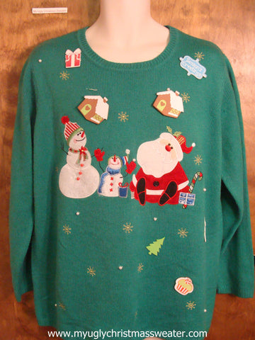Santa and Snowmen Friends Ugly Christmas Sweater