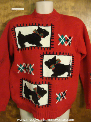Christmas Scottie Dogs Cheap Ugly Christmas Sweater