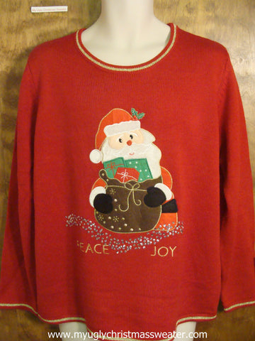 Santa Spreading Peace and Joy Ugly Christmas Sweater