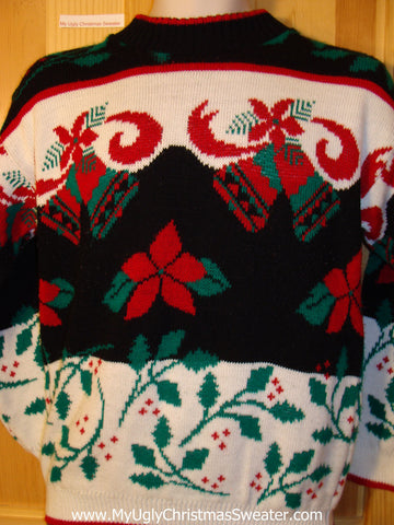 Tacky Classic 80s Ugly Christmas Sweater with Poinsettias and Ivy on Front, Back, and Sleeves (f661)