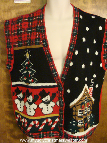 Sleepy House with Snowmen Ugly Christmas Sweater Vest