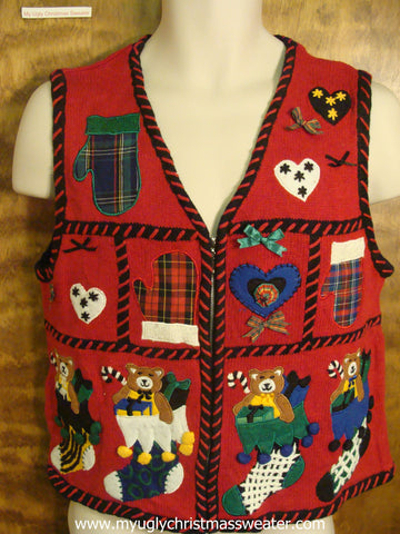 Stockings Stuffed with Teddy Bears  Ugly Christmas Sweater Vest