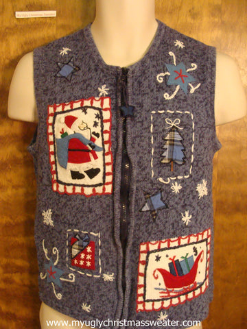 Santa with Presents Ugly Christmas Sweater Vest