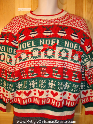 Tacky Fantastic Horrid 80s Ugly Christmas Sweater with NOEL and HOHOHO Festive Front, Back, and Sleeves (f662)