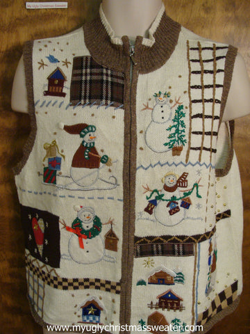 Holiday Snowmen Ugly Christmas Sweater Vest