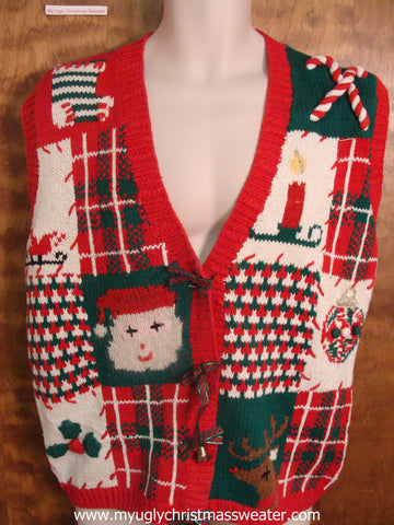 Checkered Ugly Christmas Sweater Vest
