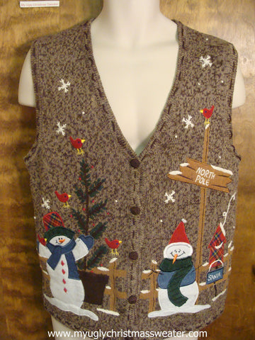 """North Pole"" Snowmen Ugly Christmas Sweater Vest"