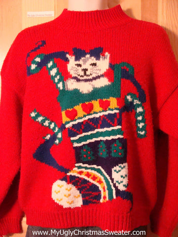 Crazy Cat Lady Special!  Tacky 80s Classic Ugly Christmas Sweater with Huge Cat in a Stocking (f663)