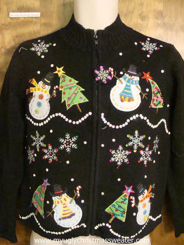 Bling Snowflakes and Trees Ugly Christmas Sweater