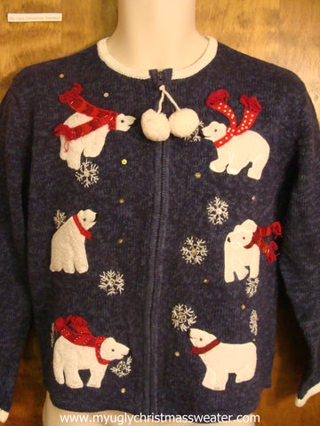 Playful Polar Bears Ugly Christmas Sweater