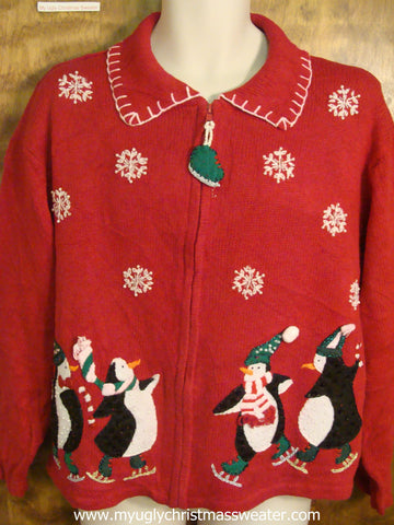 Fun Skating Penguins Ugly Christmas Sweater