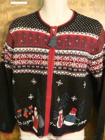 Nordic Pattern with Santa and Snowmen  Ugly Christmas Sweater