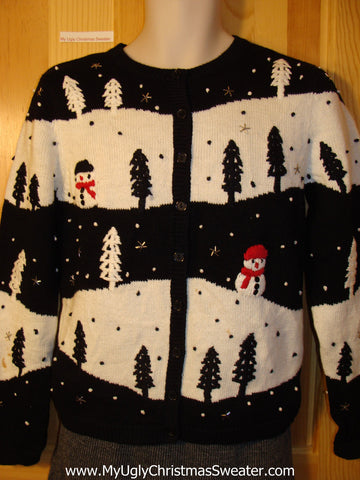 Tacky Cheap Ugly Christmas Sweater with Festive Snowmen in a Winter Wonderland (f665)