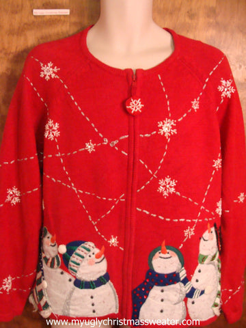 Snowmen Watching the Snow Ugly Christmas Sweater