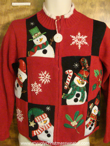Red and Black Checkered Ugly Christmas Sweater
