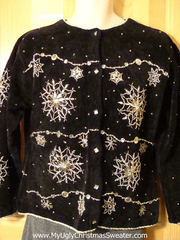 Tacky Cheap Ugly Christmas Sweater with Spider Web Snowflakes  (f666)