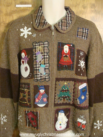 Plaid Accents Ugly Christmas Sweater