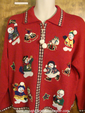 80s Merry Snowmen Ugly Christmas Sweater