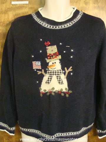 Patriotic Snowman Ugly Christmas Sweater