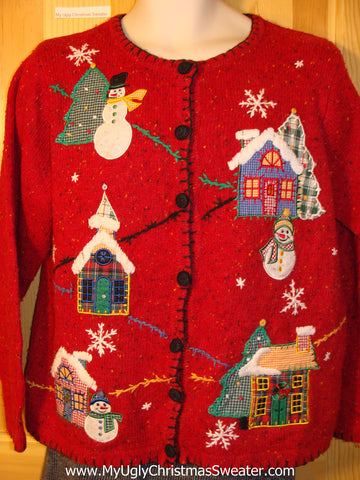 Tacky Cheap Ugly Christmas Sweater Town in a Winter Wonderland (f667)