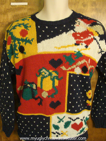 Santa Skiing Festivities Ugly Christmas Sweater