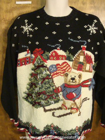 Skiing Teddy Bear Ugly Christmas Sweater