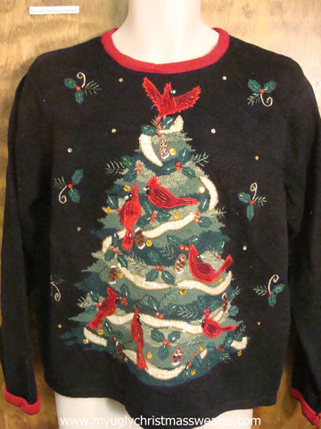 Black Christmas Sweater with Tree