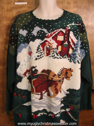 Horse and Sleigh Ugly Christmas Sweater