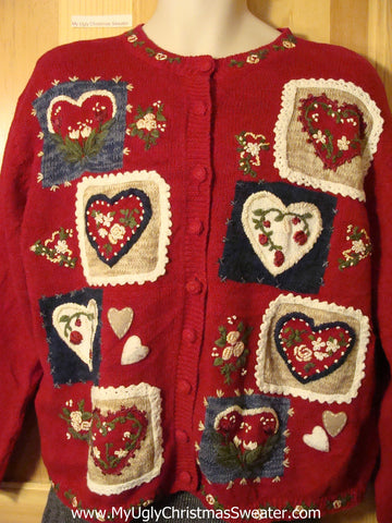 Heart Themed Tacky Cheap Ugly Christmas Sweater (f668)