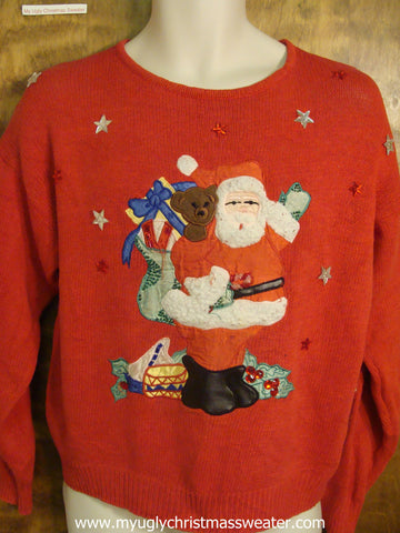Santa Carrying Pack Christmas Sweater