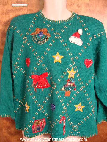 Argyle Patterned Ugly Christmas Sweater