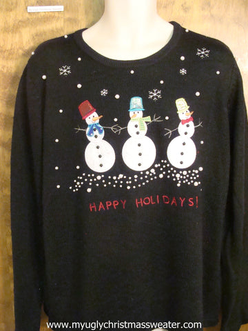 Happy Holidays Snowmen Ugly Christmas Sweater