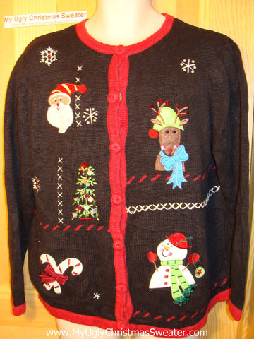 Tacky Ugly Christmas Sweater with Reindeer (f66)