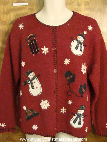 Festive Snowmen and Mittens Ugly Christmas Sweater