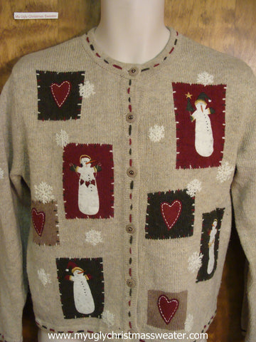 Jolly Snowmen Ugly Christmas Sweater
