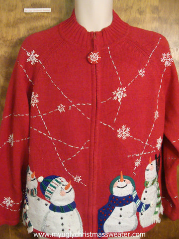Snow Falling Above Snowmen Ugly Christmas Sweater