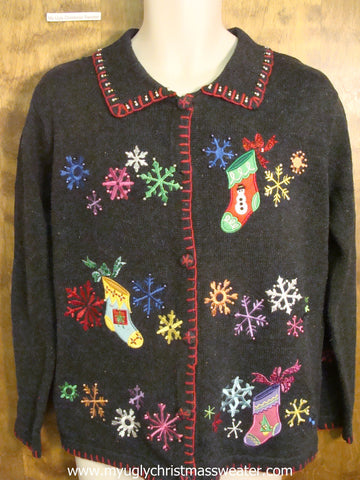 Colorful Stockings and Snowflakes Ugly Christmas Sweater