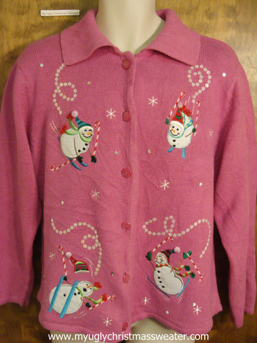 Snowmen on Skis Ugly Christmas Sweater