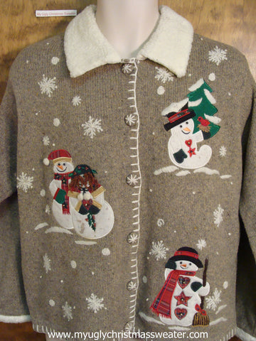 Holiday Snowmen Ugly Christmas Sweater