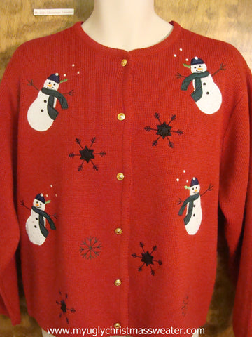 Snowman Wrapped in Scarves Ugly Christmas Sweater