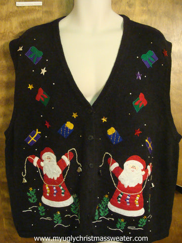 Santa Hanging Stockings Ugly Christmas Sweater Vest