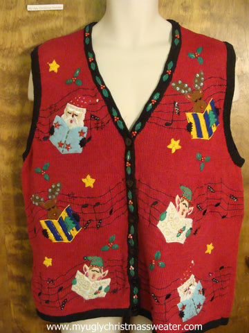 Santa and Elves Carolling Ugly Christmas Sweater Vest