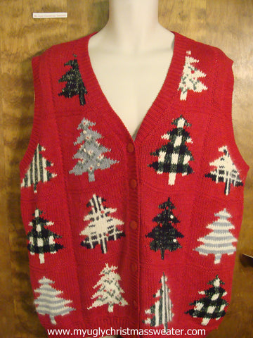 Plaid Trees Ugly Christmas Sweater Vest