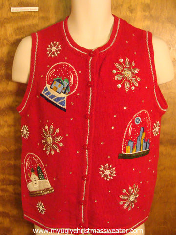 Festive Snow Globes Ugly Christmas Sweater Vest