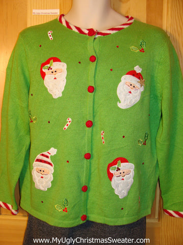 Tacky Cheap Ugly Green Christmas Sweater with Candy Cane Trim and Santa Head Decorations  (f672)